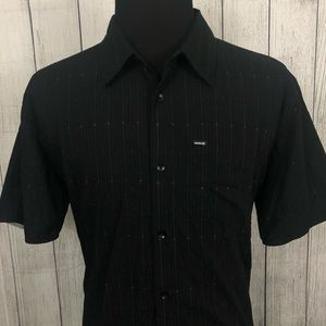Hurley XL Black Cotton Blend Button-Front Shirt